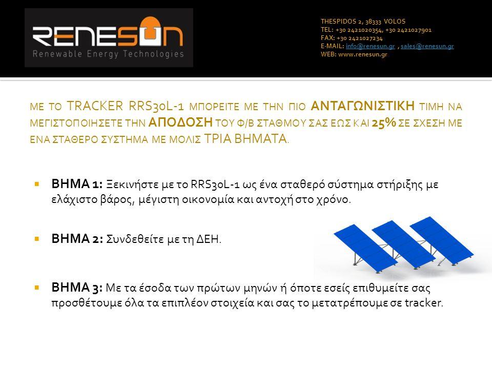 THESPIDOS 2, 38333 VOLOS TEL: +30 2421020354, +30 2421027901 FAX: +30 2421027234 E-MAIL: info@renesun.gr, sales@renesun.grinfo@renesun.grsales@renesun.gr WEB: www.renesun.gr Το ΜΟΝΑΔΙΚΟ σύστημα της αγοράς που γίνεται tracker με χρηματοδότηση 100% από τον ήλιο.
