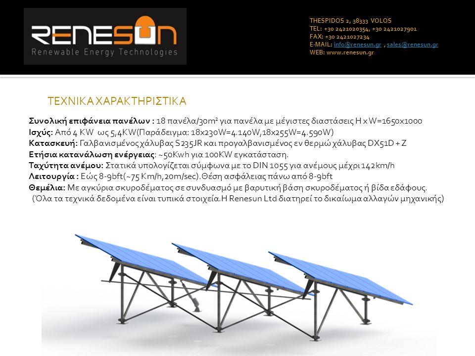 THESPIDOS 2, 38333 VOLOS TEL: +30 2421020354, +30 2421027901 FAX: +30 2421027234 E-MAIL: info@renesun.gr, sales@renesun.grinfo@renesun.grsales@renesun.gr WEB: www.renesun.gr ΤΕΧΝΙΚΑ ΧΑΡΑΚΤΗΡΙΣΤΙΚΑ Συνολική επιφάνεια πανέλων : 18 πανέλα/30m 2 για πανέλα με μέγιστες διαστάσεις H x W=1650x1000 Ισχύς: Από 4 KW ως 5,4KW(Παράδειγμα: 18x230W=4.140W,18x255W=4.590W) Κατασκευή: Γαλβανισμένος χάλυβας S235JR και προγαλβανισμένος εν θερμώ χάλυβας DX51D + Z Ετήσια κατανάλωση ενέργειας: ~50Kwh για 100KW εγκατάσταση.