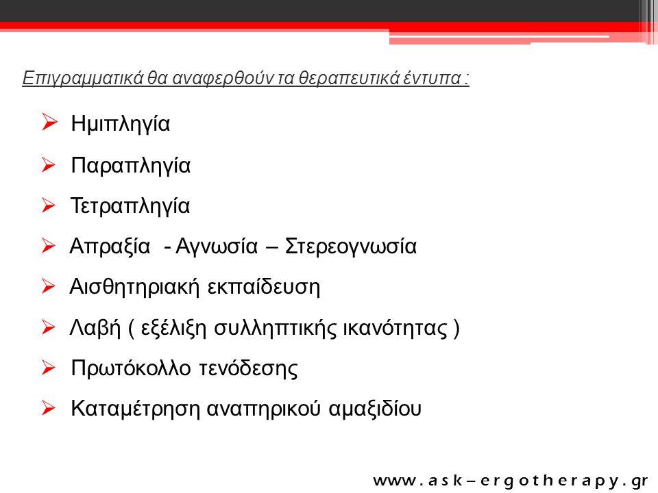 Επιγραμματικά θα αναφερθούν τα θεραπευτικά έντυπα :  Ημιπληγία  Παραπληγία  Τετραπληγία  Απραξία - Αγνωσία – Στερεογνωσία  Αισθητηριακή εκπαίδευση  Λαβή ( εξέλιξη συλληπτικής ικανότητας )  Πρωτόκολλο τενόδεσης  Καταμέτρηση αναπηρικού αμαξιδίου www.