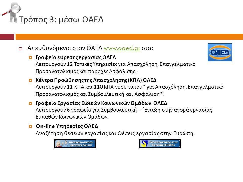 Τρόπος 3: μέσω ΟΑΕΔ  Απευθυνόμενοι στον ΟΑΕΔ www.oaed.gr στα :www.oaed.gr  Γραφεία εύρεσης εργασίας ΟΑΕΔ Λειτουργούν 12 Τοπικές Υπηρεσίες για Απασχό