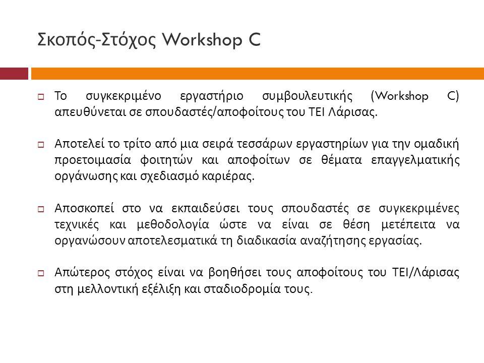 Σκοπός - Στόχος Workshop C  Το συγκεκριμένο εργαστήριο συμβουλευτικής (Workshop C) απευθύνεται σε σπουδαστές / αποφοίτους του ΤΕΙ Λάρισας.  Αποτελεί