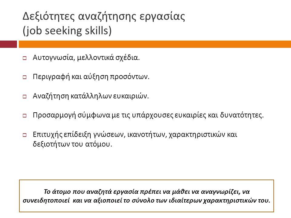 Δεξιότητες αναζήτησης εργασίας (job seeking skills)  Αυτογνωσία, μελλοντικά σχέδια.  Περιγραφή και αύξηση προσόντων.  Αναζήτηση κατάλληλων ευκαιριώ