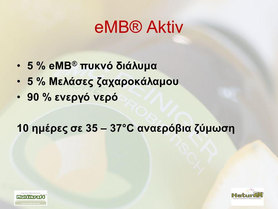eMB® Aktiv •5 % eMB ® πυκνό διάλυμα •5 % Μελάσες ζαχαροκάλαμου •90 % ενεργό νερό 10 ημέρες σε 35 – 37°C αναερόβια ζύμωση