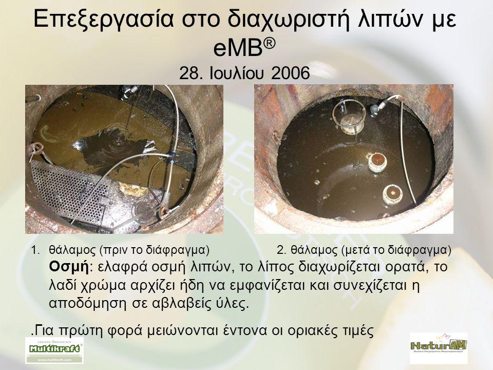 Επεξεργασία στο διαχωριστή λιπών με eMB ® 28. Ιουλίου 2006 1.θάλαμος (πριν το διάφραγμα) 2. θάλαμος (μετά το διάφραγμα) Οσμή: ελαφρά οσμή λιπών, το λί