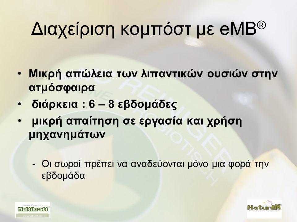 Διαχείριση κομπόστ με eMB ® •Μικρή απώλεια των λιπαντικών ουσιών στην ατμόσφαιρα • διάρκεια : 6 – 8 εβδομάδες • μικρή απαίτηση σε εργασία και χρήση μη