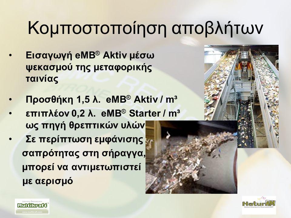 Κομποστοποίηση αποβλήτων •Εισαγωγή eMB ® Aktiv μέσω ψεκασμού της μεταφορικής ταινίας •Προσθήκη 1,5 λ. eMB ® Aktiv / m³ •επιπλέον 0,2 λ. eMB ® Starter