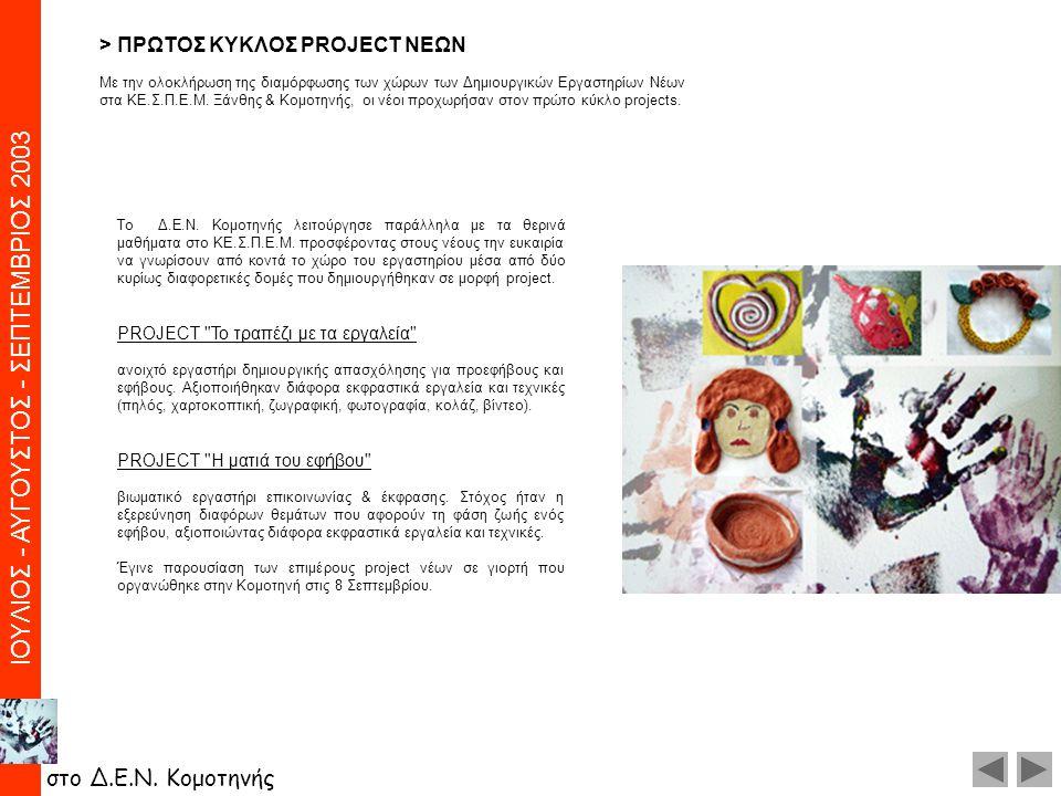 > ΠPΩTOΣ KYKΛOΣ PROJECT NEΩN Με την ολοκλήρωση της διαμόρφωσης των χώρων των Δημιουργικών Eργαστηρίων Nέων στα KE.Σ.Π.E.M. Ξάνθης & Kομοτηνής, οι νέοι