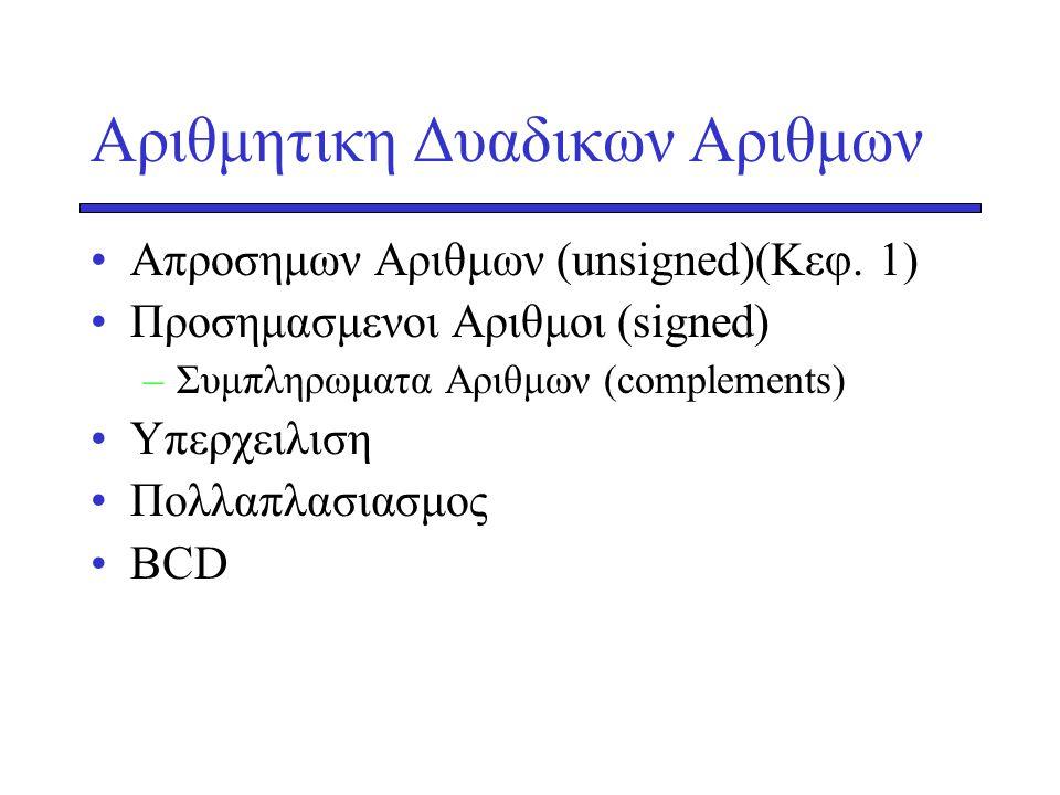 Αριθμητικη Δυαδικων Αριθμων •Απροσημων Αριθμων (unsigned)(Κεφ. 1) •Προσημασμενοι Αριθμοι (signed) –Συμπληρωματα Αριθμων (complements) •Yπερχειλιση •Πο