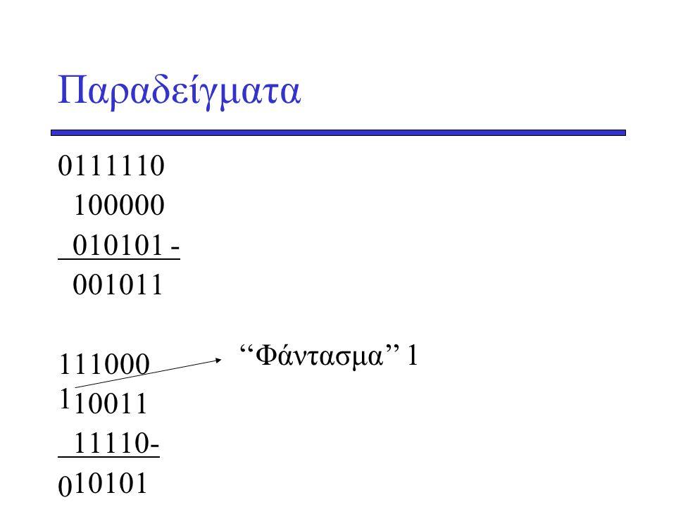 Παραδείγματα 0111110 100000 010101 - 001011 111000 10011 11110- 10101 1 ''Φάντασμα'' 1 0