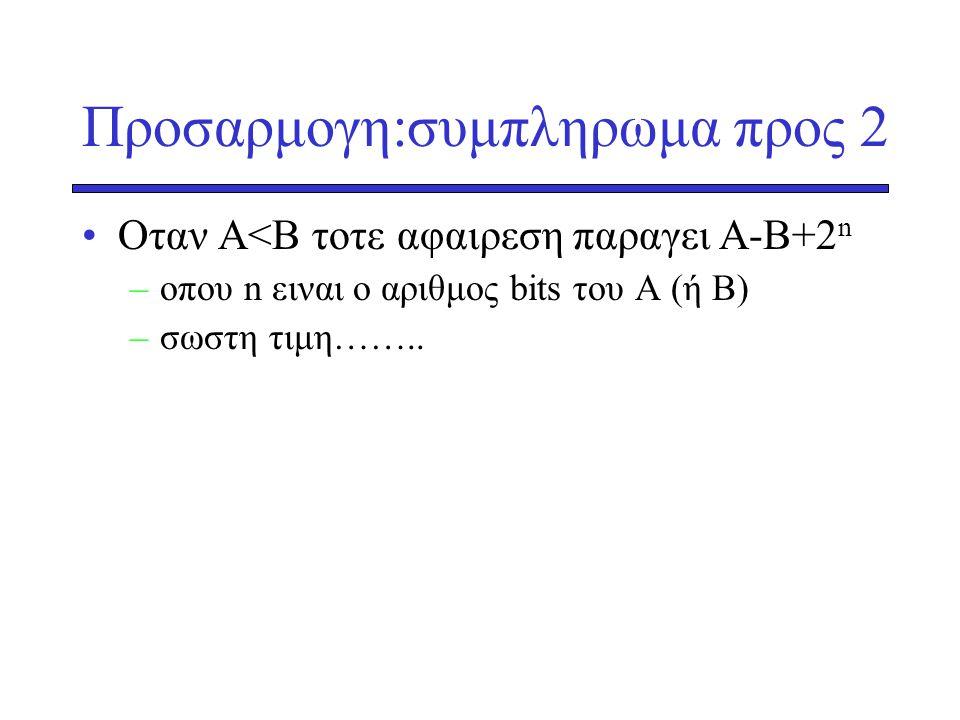Προσαρμογη:συμπληρωμα προς 2 •Oταν Α<Β τοτε αφαιρεση παραγει Α-Β+2 n –oπου n ειναι ο αριθμος bits του Α (ή Β) –σωστη τιμη……..