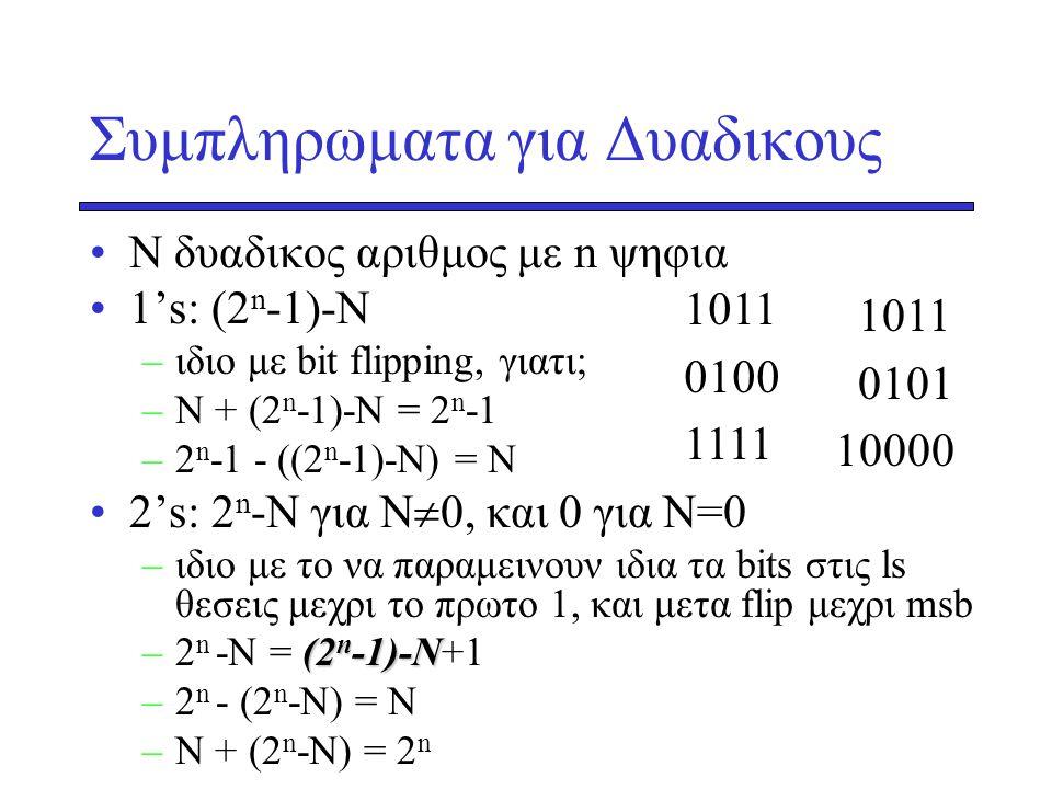 Συμπληρωματα για Δυαδικους •Ν δυαδικος αριθμος με n ψηφια •1's: (2 n -1)-N –ιδιο με bit flipping, γιατι; –Ν + (2 n -1)-N = 2 n -1 –2 n -1 - ((2 n -1)-