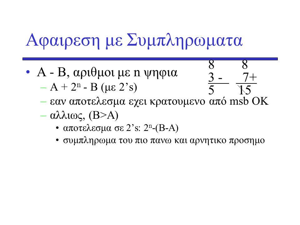 Αφαιρεση με Συμπληρωματα •Α - Β, αριθμοι με n ψηφια –Α + 2n 2n - Β (με 2's) –εαν αποτελεσμα εχει κρατουμενο από msb ΟΚ –αλλιως, (Β>Α) •αποτελεσμα σε 2