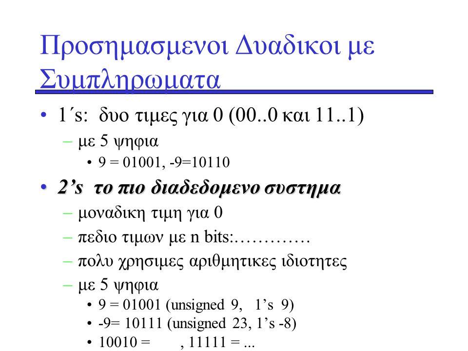 Προσημασμενοι Δυαδικοι με Συμπληρωματα •1΄s: δυο τιμες για 0 (00..0 και 11..1) –με 5 ψηφια •9 = 01001, -9=10110 •2's •2's το πιο διαδεδομενο συστημα –