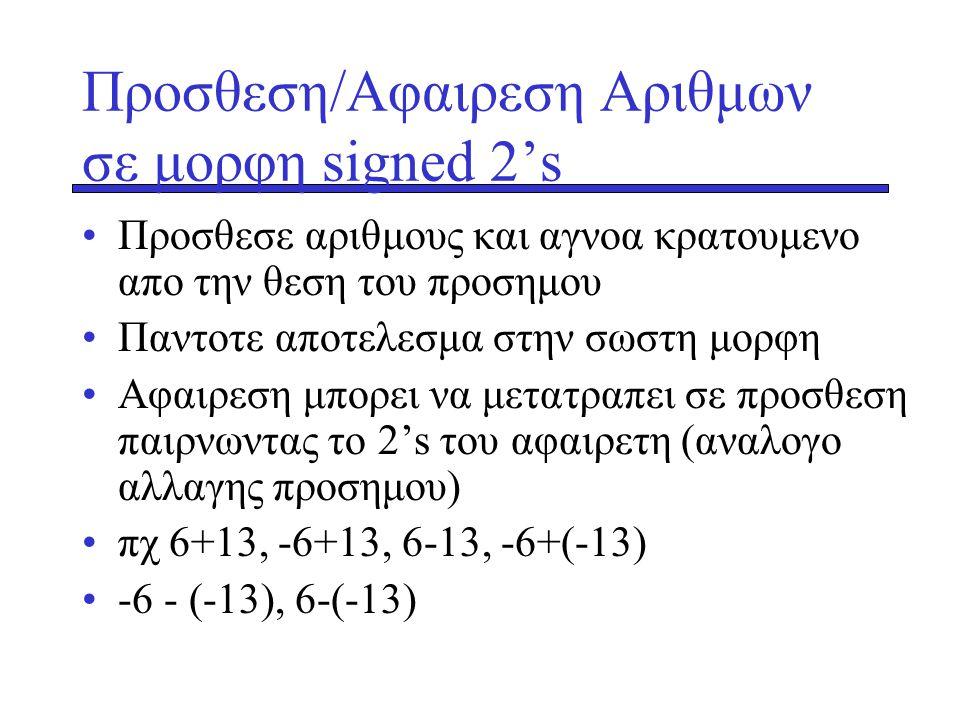 Προσθεση/Αφαιρεση Αριθμων σε μορφη signed 2's •Προσθεσε αριθμους και αγνοα κρατουμενο απο την θεση του προσημου •Παντοτε αποτελεσμα στην σωστη μορφη •