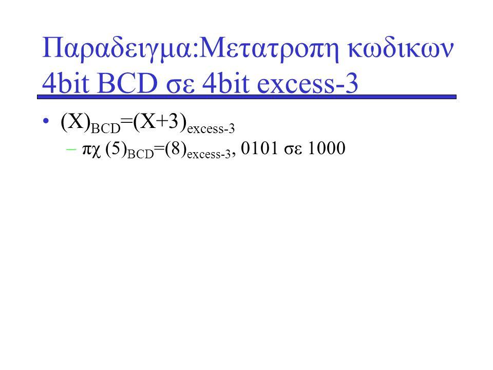 Παραδειγμα:Μετατροπη κωδικων 4bit ΒCD σε 4bit excess-3 •(X) ΒCD =(X+3) excess-3 –πχ (5) ΒCD =(8) excess-3, 0101 σε 1000