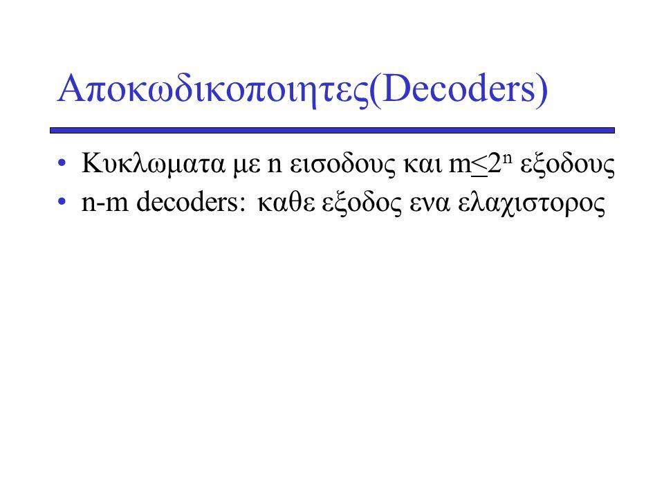 Αποκωδικοποιητες(Decoders) •Κυκλωματα με n εισοδους και m<2 n εξοδους •n-m decoders: καθε εξοδος ενα ελαχιστορος