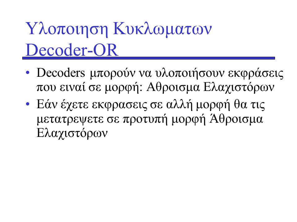 Υλοποιηση Κυκλωματων Decoder-OR •Decoders μπορούν να υλοποιήσουν εκφράσεις που ειναί σε μορφή: Αθροισμα Ελαχιστόρων •Εάν έχετε εκφρασεις σε αλλή μορφή