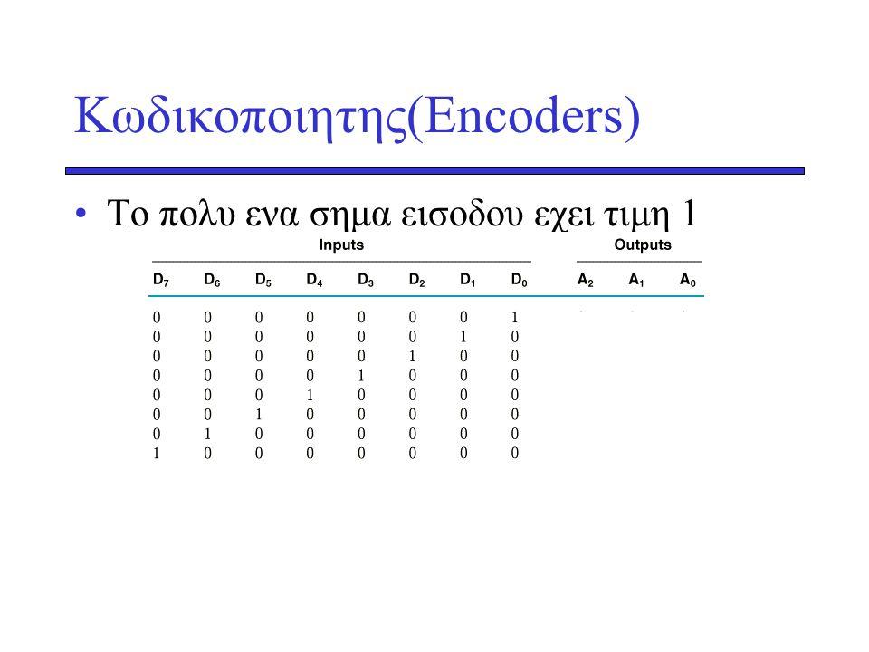 Κωδικοποιητης(Encoders) •Το πολυ ενα σημα εισοδου εχει τιμη 1