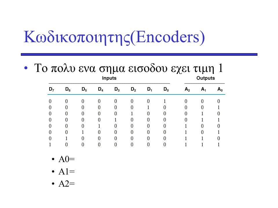 Κωδικοποιητης(Encoders) •Το πολυ ενα σημα εισοδου εχει τιμη 1 •A0= •A1= •A2=