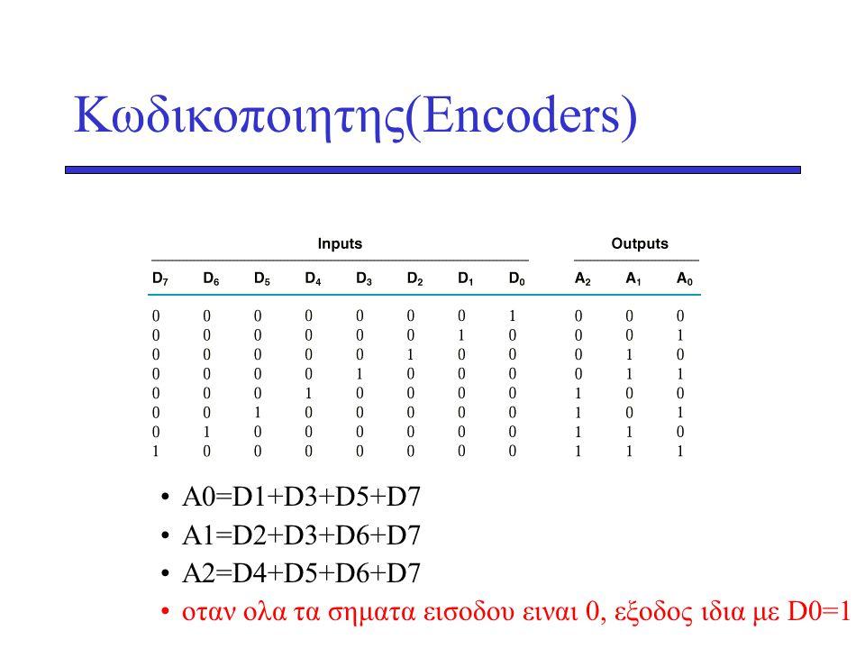 Κωδικοποιητης(Encoders) •A0=D1+D3+D5+D7 •A1=D2+D3+D6+D7 •A2=D4+D5+D6+D7 •οταν ολα τα σηματα εισοδου ειναι 0, εξοδος ιδια με D0=1