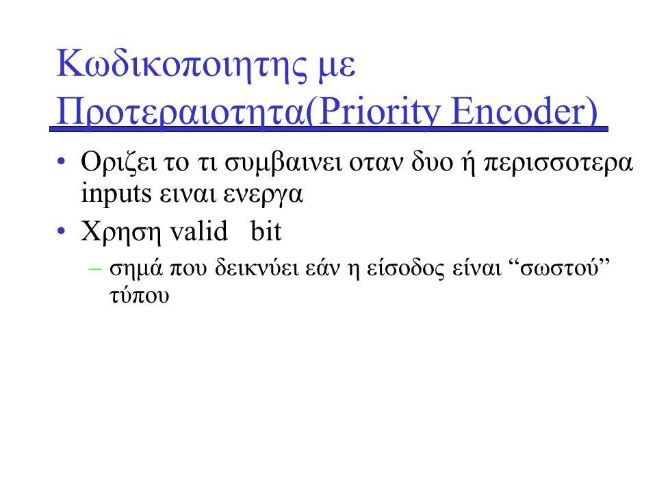 Κωδικοποιητης με Προτεραιοτητα(Priority Encoder) •Οριζει το τι συμβαινει οταν δυο ή περισσοτερα inputs ειναι ενεργα •Xρηση valid bit –σημά που δεικνύε
