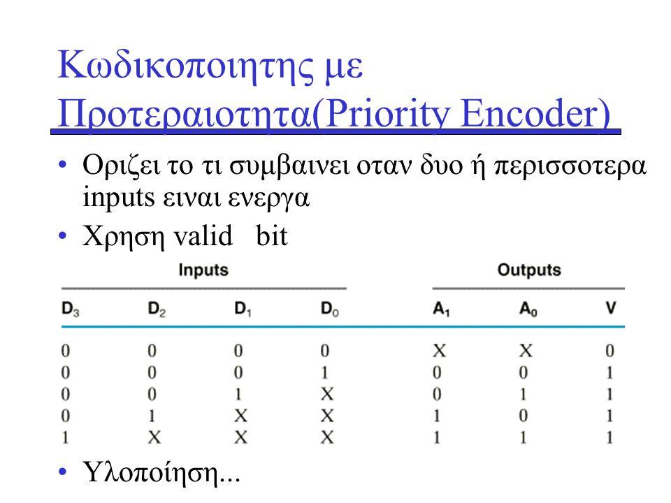 Κωδικοποιητης με Προτεραιοτητα(Priority Encoder) •Οριζει το τι συμβαινει οταν δυο ή περισσοτερα inputs ειναι ενεργα •Xρηση valid bit •Yλοποίηση...
