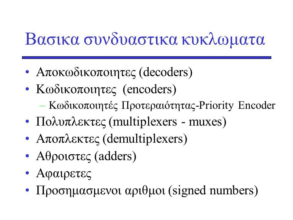 Βασικα συνδυαστικα κυκλωματα •Αποκωδικοποιητες (decoders) •Κωδικοποιητες (encoders) –Κωδικοποιητές Προτεραιότητας-Priority Encoder •Πολυπλεκτες (multi