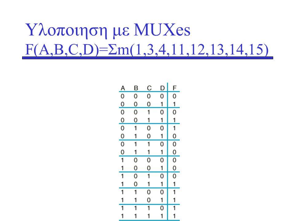 Υλοποιηση με ΜUXes F(A,B,C,D)=Σm(1,3,4,11,12,13,14,15)