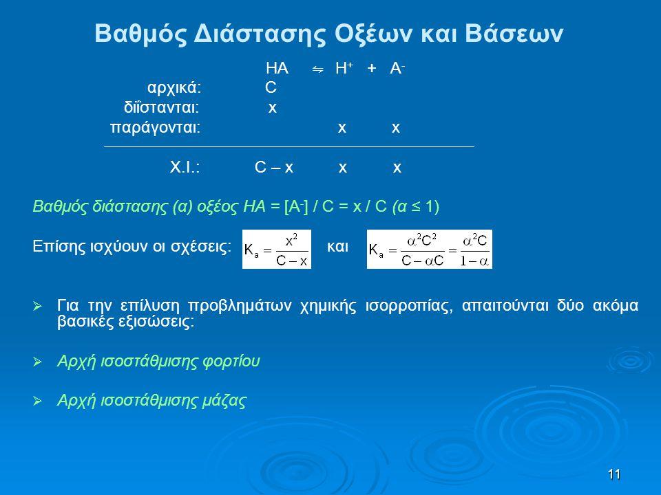 11 Βαθμός Διάστασης Οξέων και Βάσεων ΗΑ ⇋ Η + + Α - αρχικά: C διΐστανται: x παράγονται: x x X.I.: C – x x x Βαθμός διάστασης (α) οξέος ΗΑ = [Α - ] / C