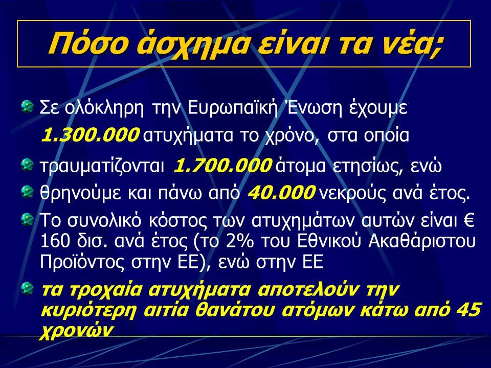 Πόσο άσχημα είναι τα νέα; Σε ολόκληρη την Ευρωπαϊκή Ένωση έχουμε 1.300.000 ατυχήματα το χρόνο, στα οποία τραυματίζονται 1.700.000 άτομα ετησίως, ενώ θρηνούμε και πάνω από 40.000 νεκρούς ανά έτος.