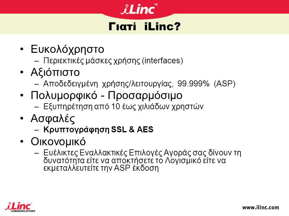 Γιατί iLinc? •Ευκολόχρηστο –Περιεκτικές μάσκες χρήσης (interfaces) •Αξιόπιστο –Αποδεδειγμένη χρήσης/λειτουργίας, 99.999% (ASP) •Πολυμορφικό - Προσαρμό