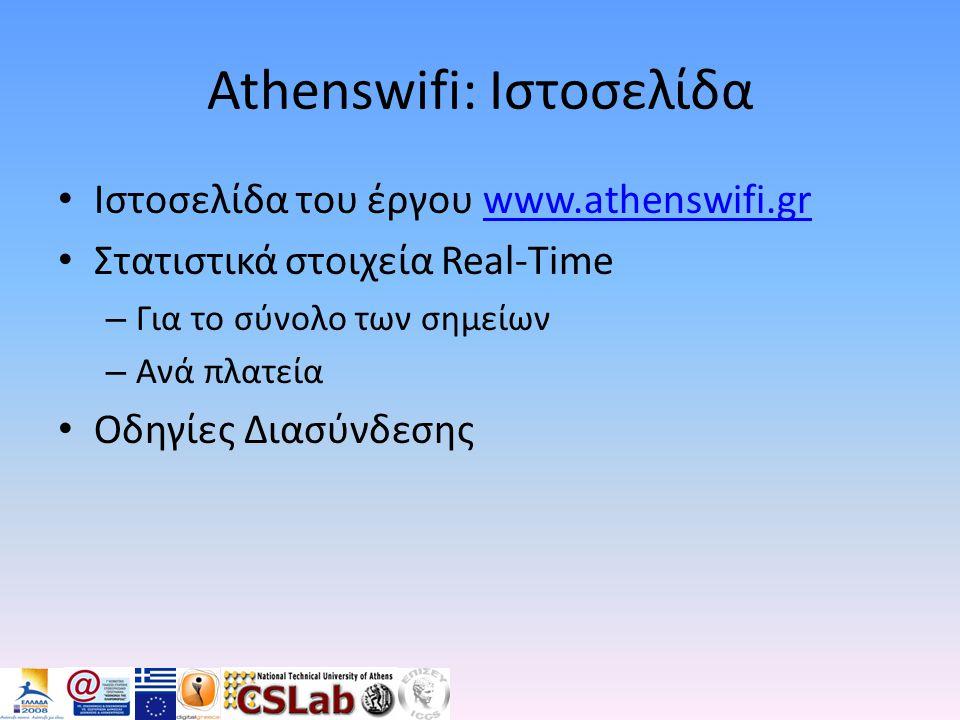 Athenswifi: Ιστοσελίδα • Ιστοσελίδα του έργου www.athenswifi.grwww.athenswifi.gr • Στατιστικά στοιχεία Real-Time – Για το σύνολο των σημείων – Ανά πλα