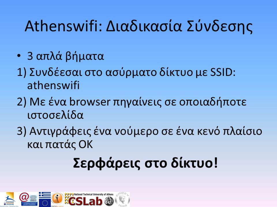 Athenswifi: Διαδικασία Σύνδεσης • 3 απλά βήματα 1) Συνδέεσαι στο ασύρματο δίκτυο με SSID: athenswifi 2) Με ένα browser πηγαίνεις σε οποιαδήποτε ιστοσε