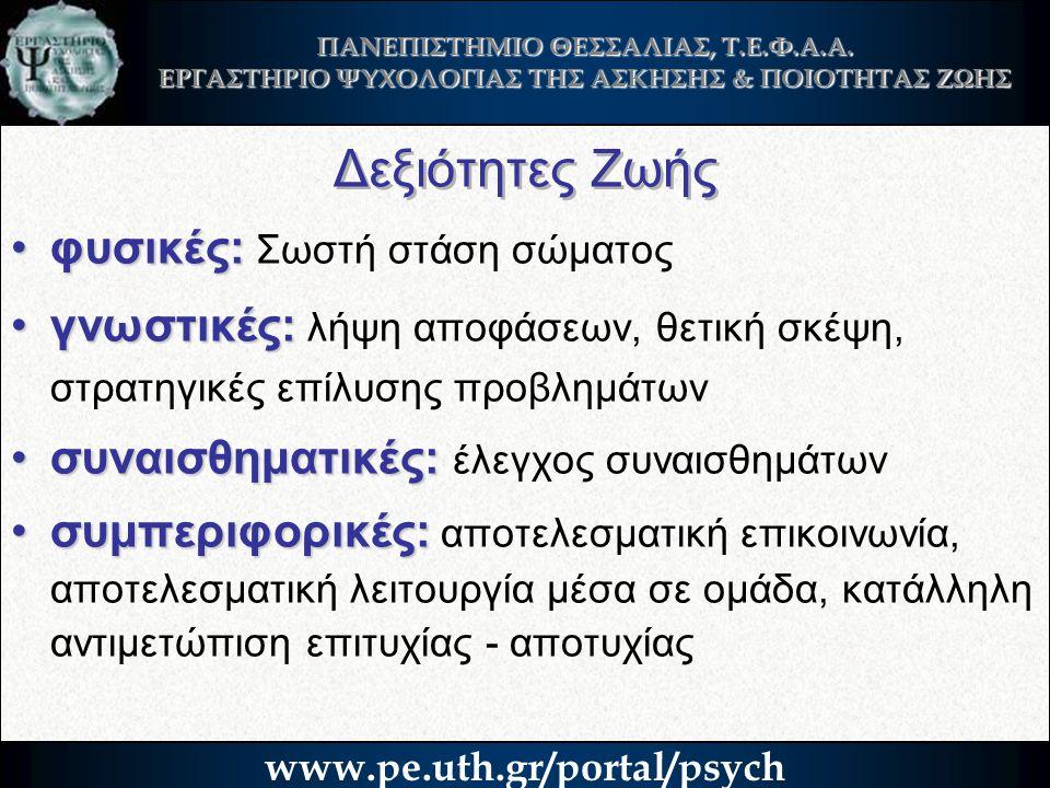ΠΑΝΕΠΙΣΤΗΜΙΟ ΘΕΣΣΑΛΙΑΣ, Τ.Ε.Φ.Α.Α. ΕΡΓΑΣΤΗΡΙΟ ΨΥΧΟΛΟΓΙΑΣ ΤΗΣ ΑΣΚΗΣΗΣ & ΠΟΙΟΤΗΤΑΣ ΖΩΗΣ www.pe.uth.gr/portal/psych Δεξιότητες Ζωής •φυσικές: •φυσικές: Σ