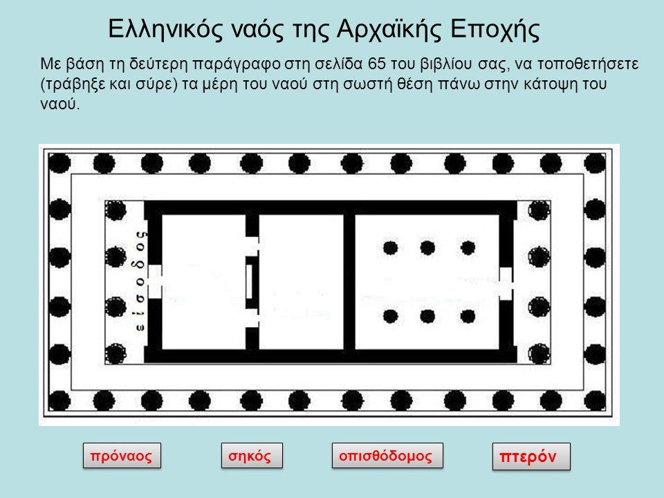 Ελληνικός ναός της Αρχαϊκής Εποχής πρόναος σηκός οπισθόδομος πτερόν Με βάση τη δεύτερη παράγραφο στη σελίδα 65 του βιβλίου σας, να τοποθετήσετε (τράβη