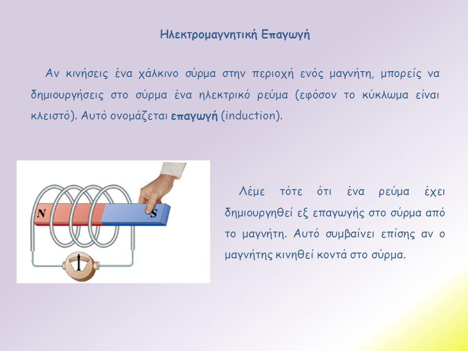 Ηλεκτρομαγνητική Επαγωγή Αν κινήσεις ένα χάλκινο σύρμα στην περιοχή ενός μαγνήτη, μπορείς να δημιουργήσεις στο σύρμα ένα ηλεκτρικό ρεύμα (εφόσον το κύ