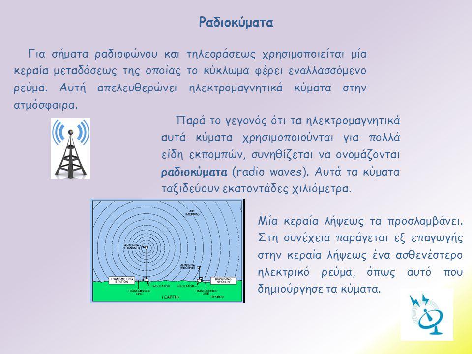 Ραδιοκύματα Μία κεραία λήψεως τα προσλαμβάνει. Στη συνέχεια παράγεται εξ επαγωγής στην κεραία λήψεως ένα ασθενέστερο ηλεκτρικό ρεύμα, όπως αυτό που δη