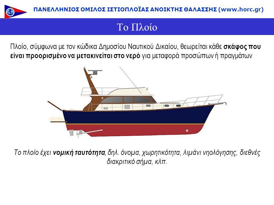 Το Πλοίο ΠΑΝΕΛΛΗΝΙΟΣ ΟΜΙΛΟΣ ΙΣΤΙΟΠΛΟΪΑΣ ΑΝΟΙΚΤΗΣ ΘΑΛΑΣΣΗΣ (www.horc.gr) Πλοίο, σύμφωνα με τον κώδικα Δημοσίου Ναυτικού Δικαίου, θεωρείται κάθε σκάφος