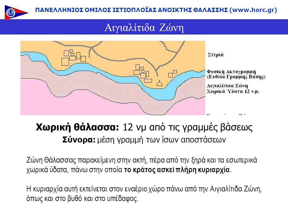 Αιγιαλίτιδα Ζώνη Χωρική θάλασσα: 12 νμ από τις γραμμές βάσεως Σύνορα: μέση γραμμή των ίσων αποστάσεων ΠΑΝΕΛΛΗΝΙΟΣ ΟΜΙΛΟΣ ΙΣΤΙΟΠΛΟΪΑΣ ΑΝΟΙΚΤΗΣ ΘΑΛΑΣΣΗΣ