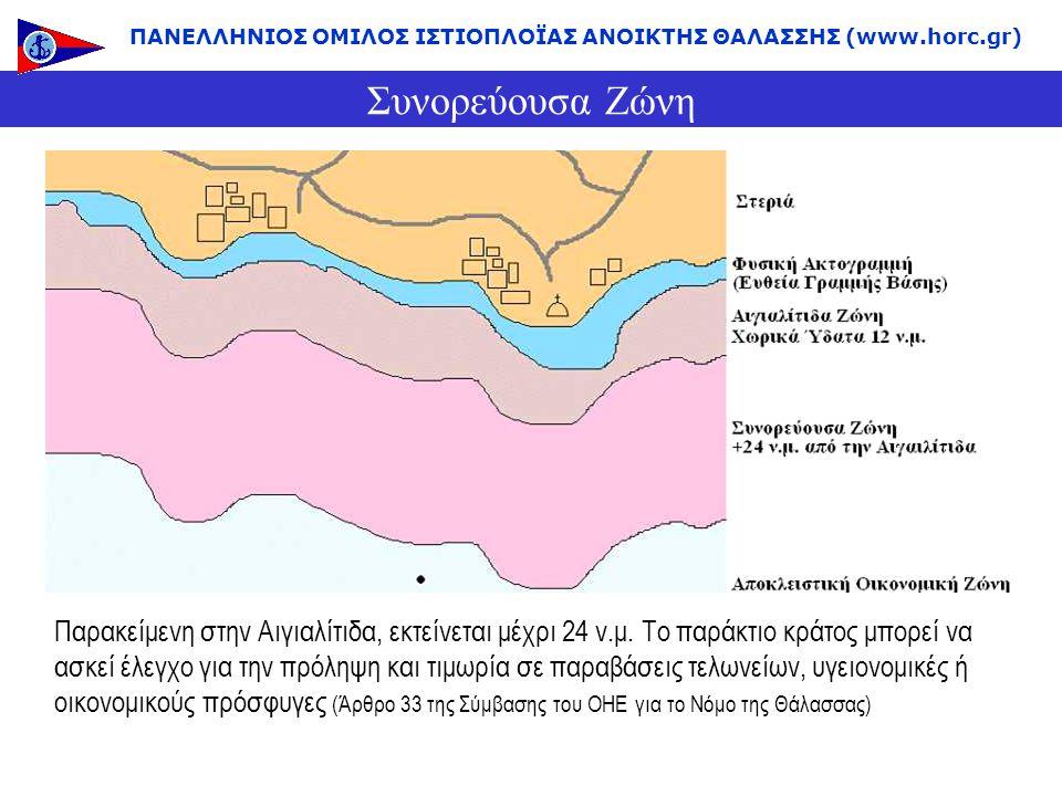 Συνορεύουσα Ζώνη Παρακείμενη στην Αιγιαλίτιδα, εκτείνεται μέχρι 24 ν.μ. Το παράκτιο κράτος μπορεί να ασκεί έλεγχο για την πρόληψη και τιμωρία σε παραβ