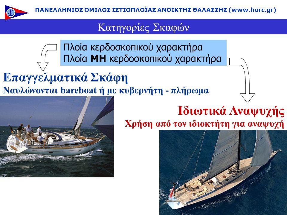 Κατηγορίες Σκαφών Επαγγελματικά Σκάφη Ναυλώνονται bareboat ή με κυβερνήτη - πλήρωμα Ιδιωτικά Αναψυχής Χρήση από τον ιδιοκτήτη για αναψυχή Πλοία κερδοσ