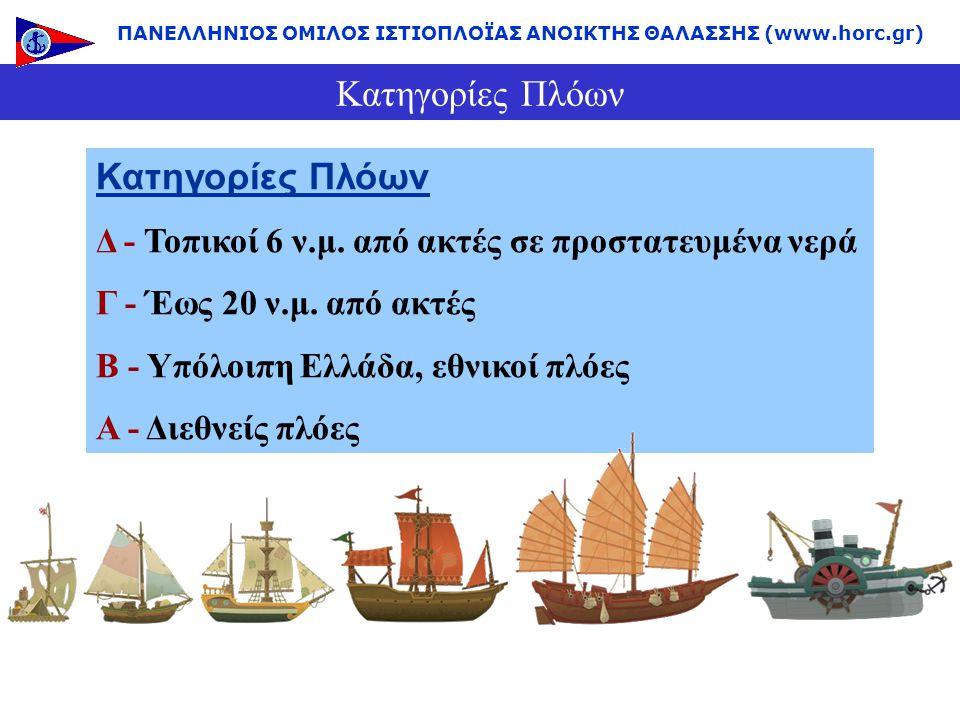 Κατηγορίες Πλόων Δ - Τοπικοί 6 ν.μ. από ακτές σε προστατευμένα νερά Γ - Έως 20 ν.μ. από ακτές Β - Υπόλοιπη Ελλάδα, εθνικοί πλόες Α - Διεθνείς πλόες ΠΑ