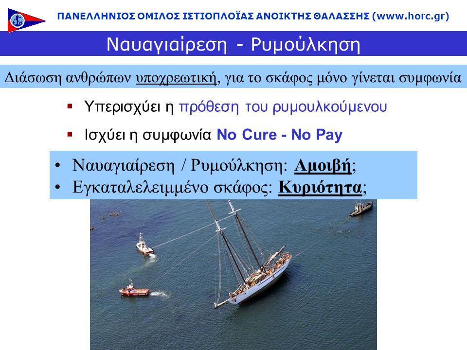  Υπερισχύει η πρόθεση του ρυμουλκούμενου  Ισχύει η συμφωνία No Cure - No Pay Ναυαγιαίρεση - Ρυμούλκηση Διάσωση ανθρώπων υποχρεωτική, για το σκάφος μ