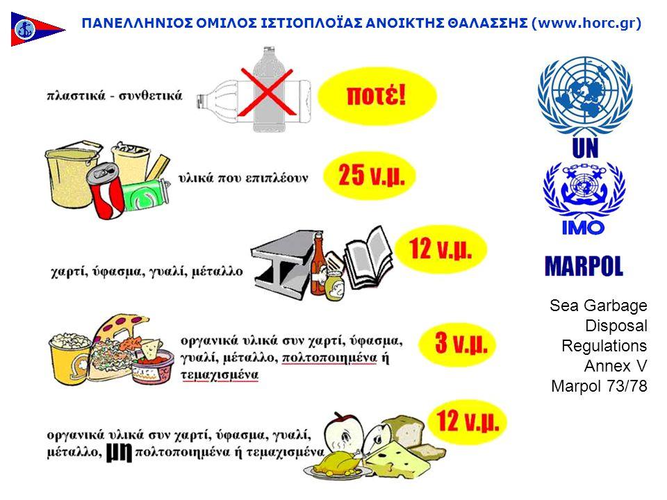ΠΑΝΕΛΛΗΝΙΟΣ ΟΜΙΛΟΣ ΙΣΤΙΟΠΛΟΪΑΣ ΑΝΟΙΚΤΗΣ ΘΑΛΑΣΣΗΣ (www.horc.gr) Sea Garbage Disposal Regulations Annex V Marpol 73/78