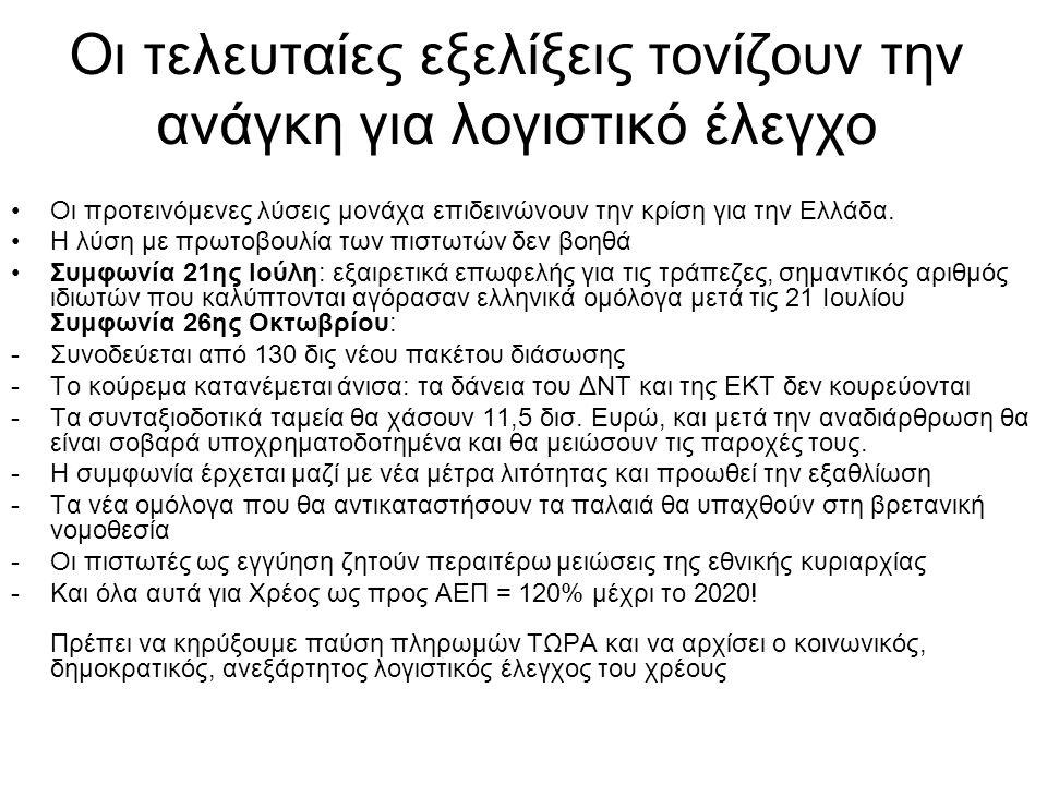 Οι τελευταίες εξελίξεις τονίζουν την ανάγκη για λογιστικό έλεγχο •Οι προτεινόμενες λύσεις μονάχα επιδεινώνουν την κρίση για την Ελλάδα. •Η λύση με πρω