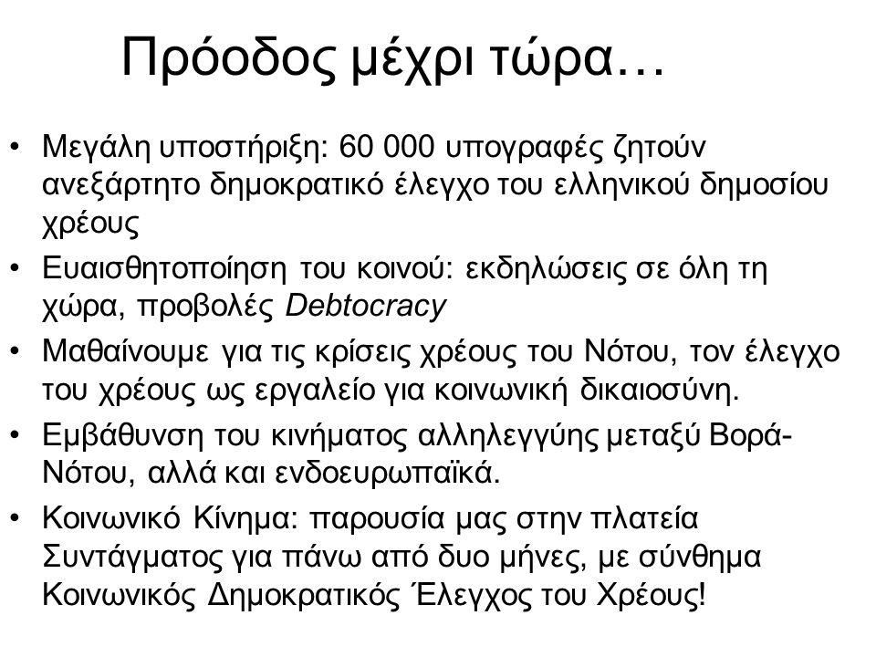 Πρόοδος μέχρι τώρα… •Μεγάλη υποστήριξη: 60 000 υπογραφές ζητούν ανεξάρτητο δημοκρατικό έλεγχο του ελληνικού δημοσίου χρέους •Ευαισθητοποίηση του κοινού: εκδηλώσεις σε όλη τη χώρα, προβολές Debtocracy •Μαθαίνουμε για τις κρίσεις χρέους του Νότου, τον έλεγχο του χρέους ως εργαλείο για κοινωνική δικαιοσύνη.