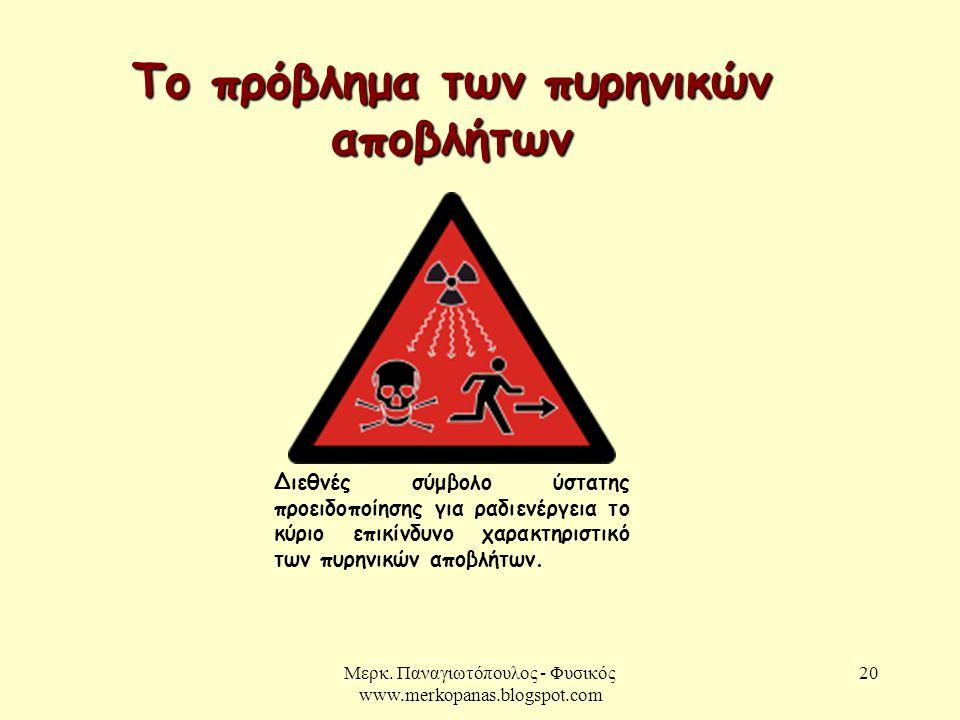 Μερκ. Παναγιωτόπουλος - Φυσικός www.merkopanas.blogspot.com 20 Το πρόβλημα των πυρηνικών αποβλήτων Διεθνές σύμβολο ύστατης προειδοποίησης για ραδιενέρ