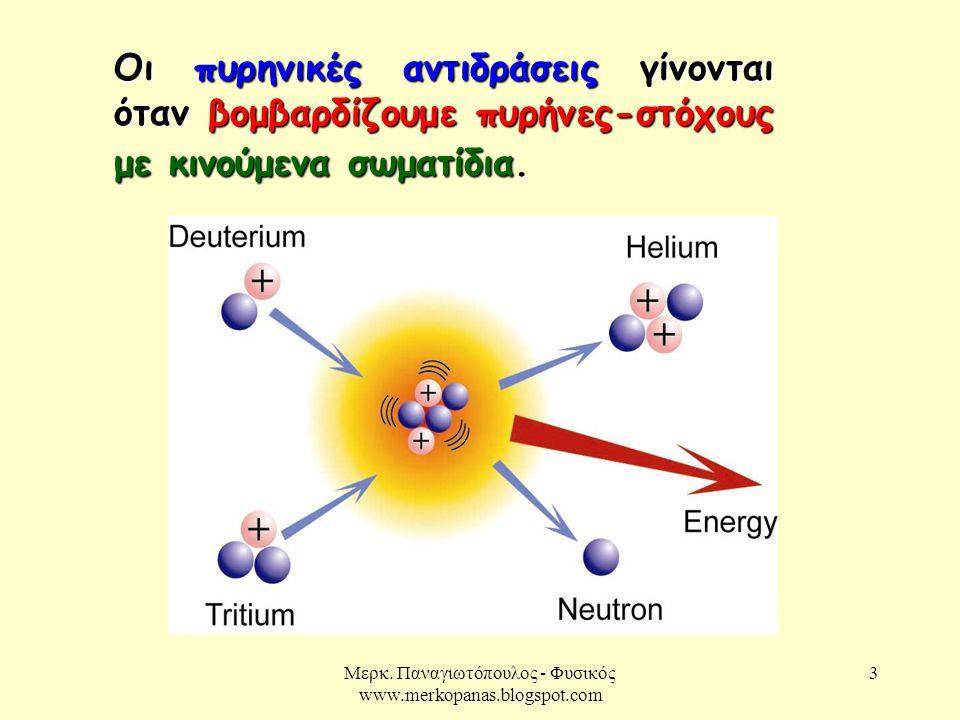 Μερκ. Παναγιωτόπουλος - Φυσικός www.merkopanas.blogspot.com 3 Οι πυρηνικές αντιδράσεις γίνονται όταν βομβαρδίζουμε πυρήνες-στόχους με κινούμενα σωματί