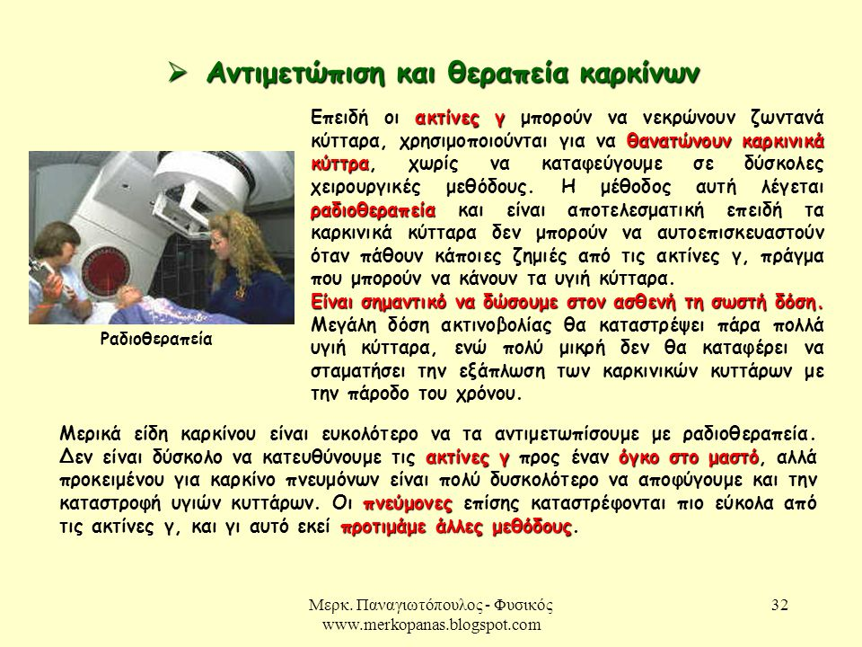 Μερκ. Παναγιωτόπουλος - Φυσικός www.merkopanas.blogspot.com 32  Αντιμετώπιση και θεραπεία καρκίνων Ραδιοθεραπεία ακτίνες γ θανατώνουν καρκινικά κύττρ