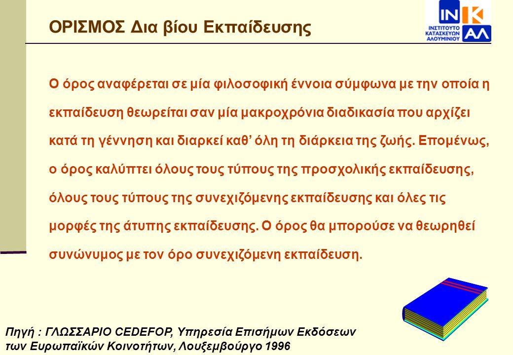 Δια Βίου Εκπαίδευση στην Ελλάδα Η Δια Βίου Εκπαίδευση αποτελεί ένα σχετικά νέο θεσμό στη χώρα μας ο οποίος τείνει να καλύψει τη σύγχρονη ανάγκη για δια βίου επιμόρφωση.